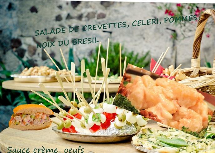 salade de crevettes, pommes, noix du brésil, sauce crème et oeuf, sans gluten