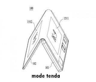 Tablet lipat LG dalam keadaan mode tenda