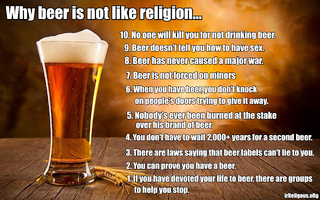 Funny Why beer is not like religion meme picture