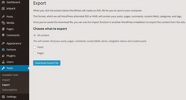 WordPress Export XML WXR