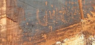 Petroglyphs along UT-279 before Corona Arch Utah