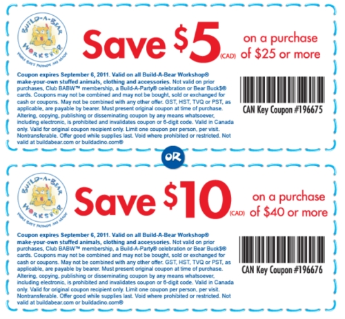build a bear coupons canada  printable