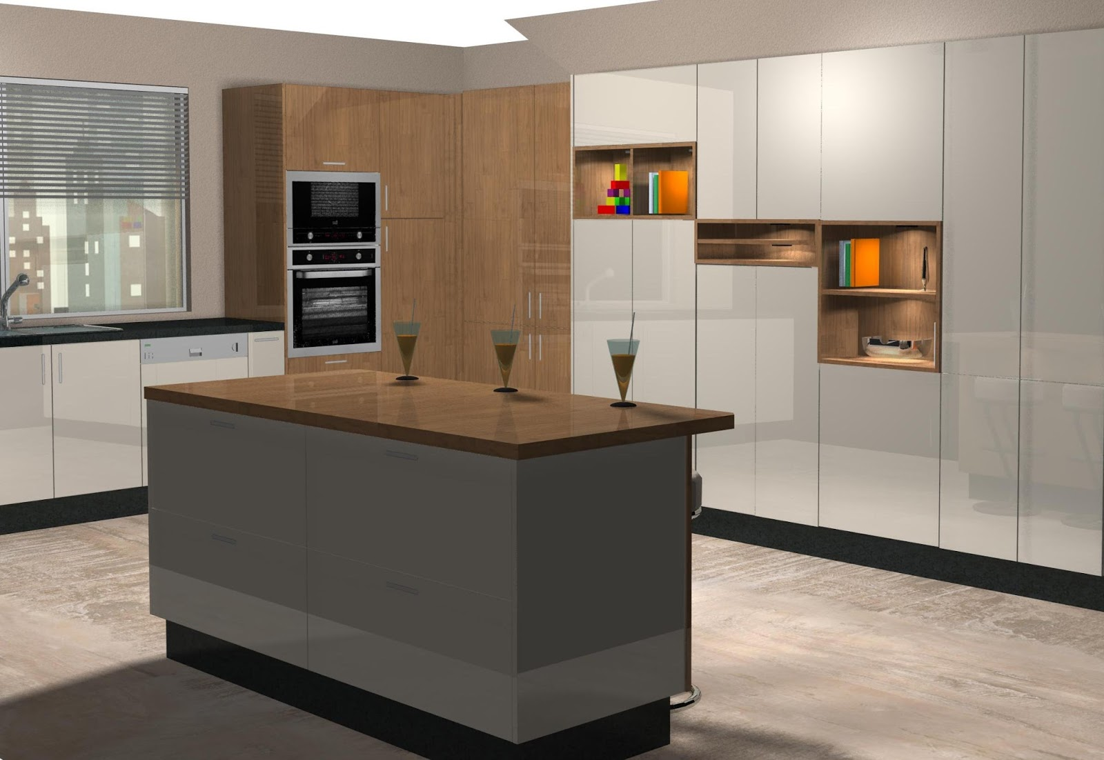 Diseño muebles de cocina: Diseño de cocina laminado en crema y madera