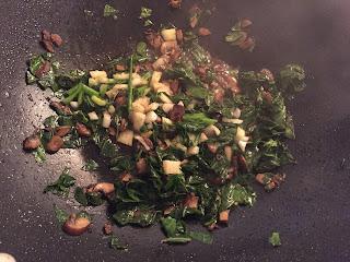 cooking mushrooms garlic collard greens