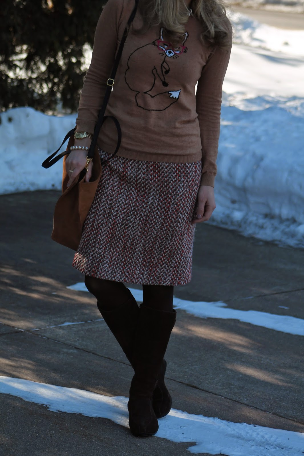 Pink Tweed Skirt and Fox Sweater