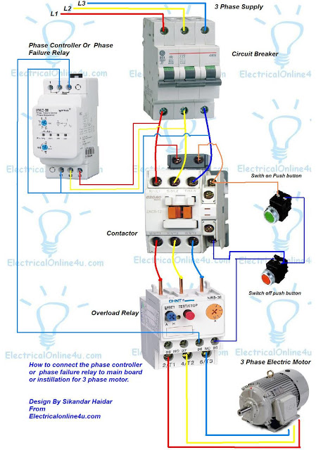 Contactor Wiring Diagram Underfloor Heating : Pfr relay phase failure belajar listrik