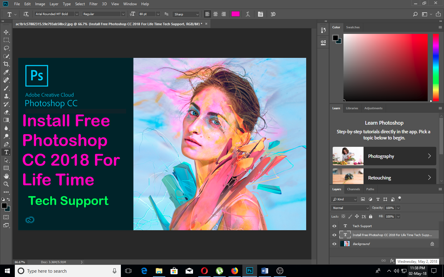 How to Install Photoshop CC 2018 full version for life time