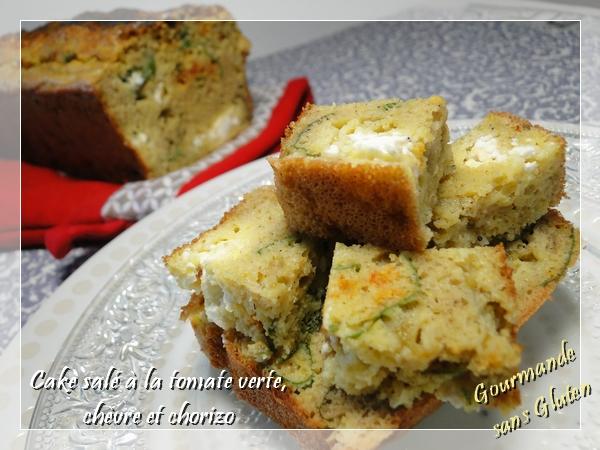 Cake salé à la tomate verte,chèvre et chorizo, sans gluten