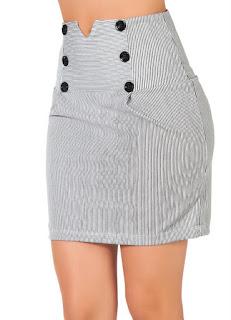 modelo de mini saia listrada - fotos e looks