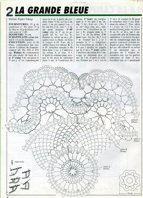 журнал 1000 Mailles № 174 03-1996 Салфетка  крючком, брюггское кружево