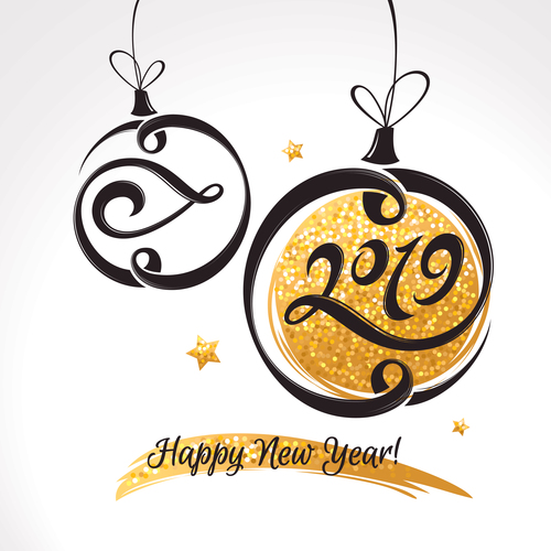 2019 new year decor background free vector file
