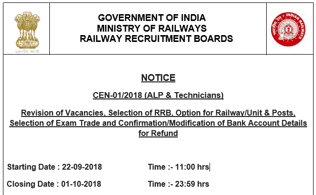 RRB Notice for Vacancy increase, Bank account refund and more - Read Now