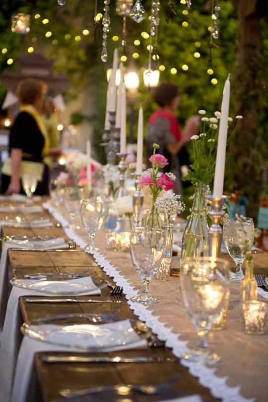 vintage rustic wedding table setting with Candles