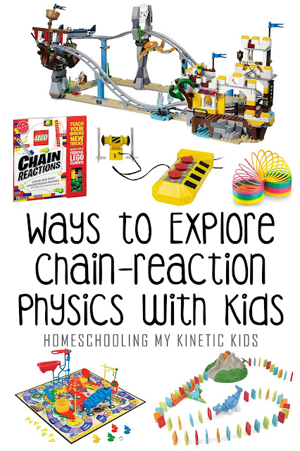Learn Physics with Dominoes // Homeschooling My Kinetic Kids // STEM // science // physics // laws of motion // chain reactions // gift guide // birthday // christmas // toys