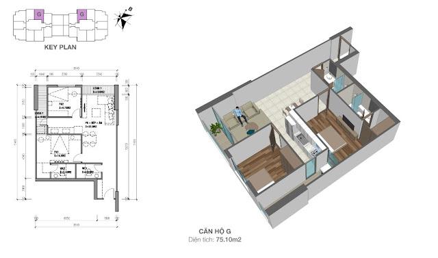 Căn hộ G có diện tích 75m2 với thiết kế 02 phòng ngủ