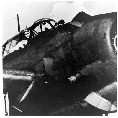 In 1941, George H.W. Bush became the youngest aviator in the US Navy at the time.  He is pictured in the cockpit of his General Motors (Eastern) TBM Avenger during World War II.