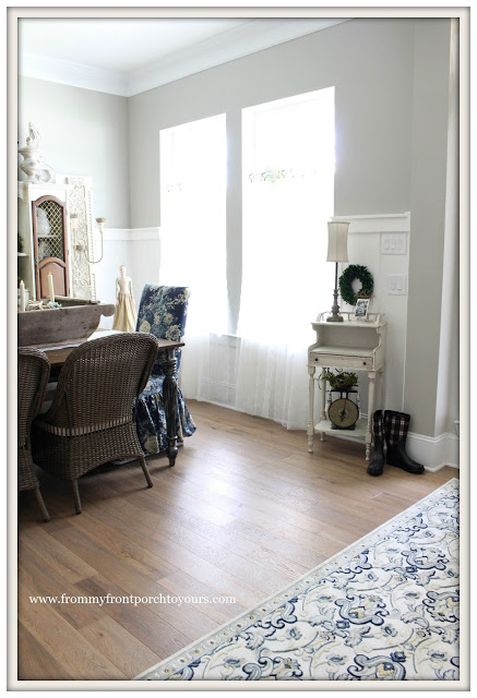 french farmhouse dining room-DIY-Curtains-from my front porch to yours