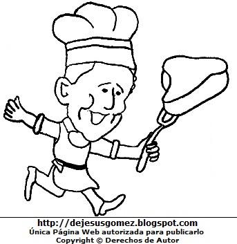 Hombre trabajando de carnicero para colorear o pintar  (Hombre feliz corriendo con su carne). Dibujo de hombre de Jesus Gómez