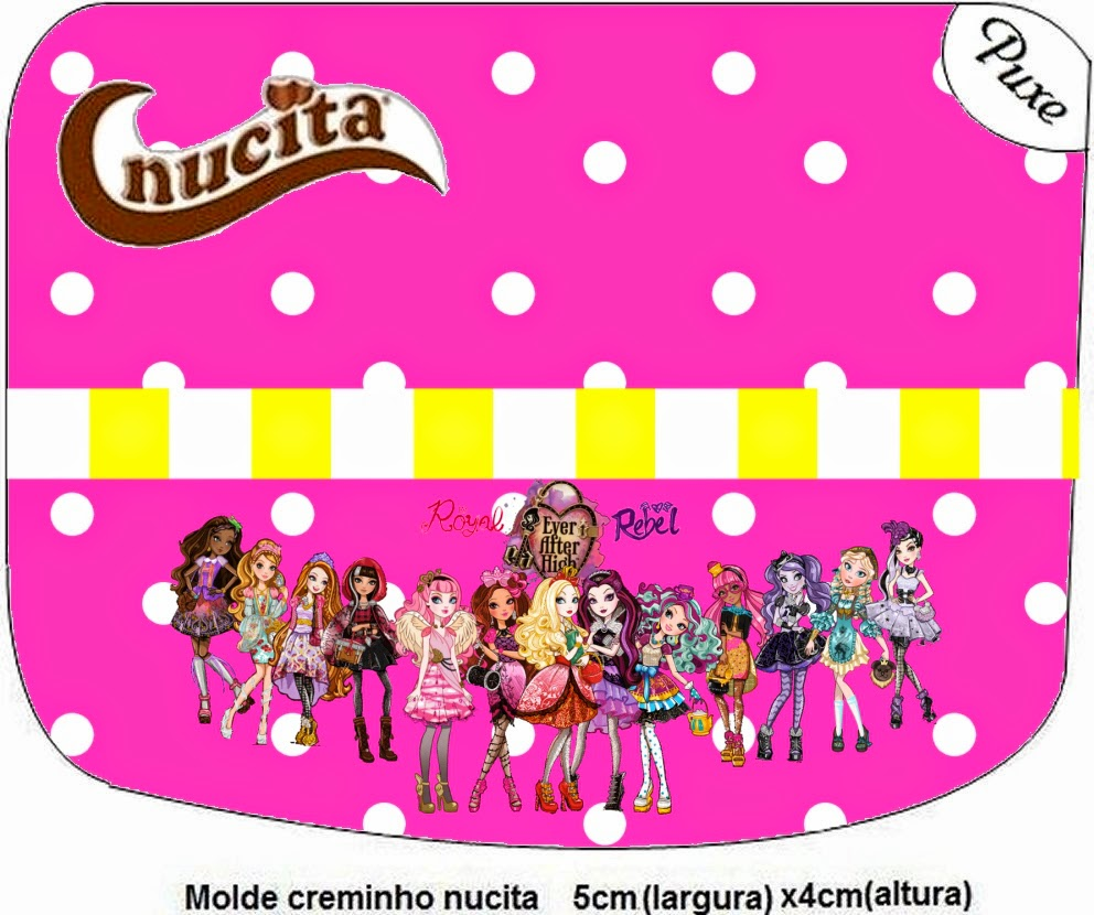 Etiquetas de Nucita Ever After High Amarillo y Rosa para imprimir gratis.