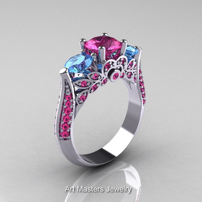 Clic 14k White Gold Three Stone Blue Topaz Pink Shire Solitaire Ring R200 14kwgbtps