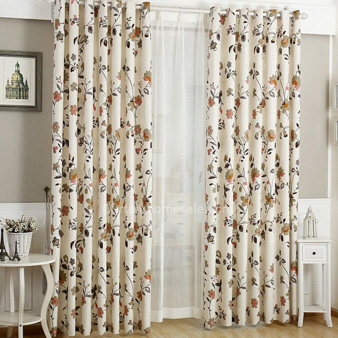 Decorative Floral Pattered beige Linen/Cotton Blend Fabric Country Curtain