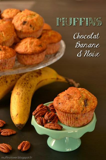 Recette Muffins choco-banane-noix - muffinzlover.blogspot.fr