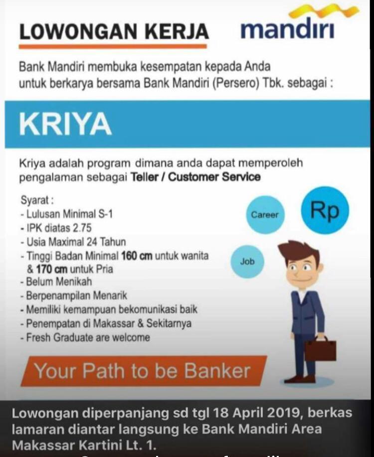 Lowongan Kerja Bank Mandiri Terbaru 2019 Infonesia45