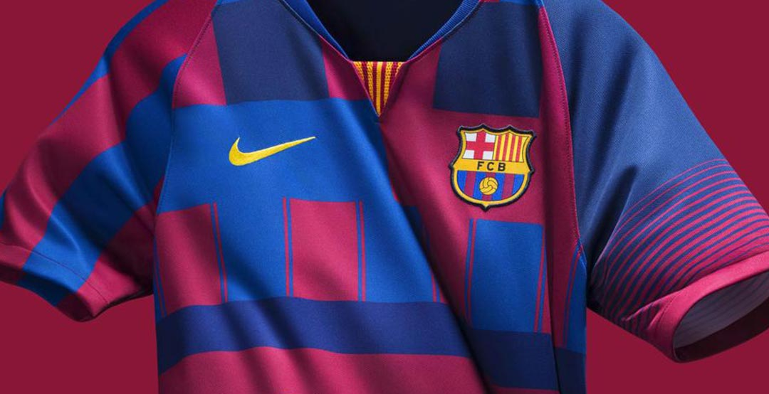 aa73f8f839c Nike today finally revealed the FC Barcelona Mashup shirt. It is officially  dubbed the Nike FC Barcelona What The 20th Anniversary Jersey