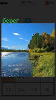 Протекает река и по обеим сторонам расположены берега с растительностью