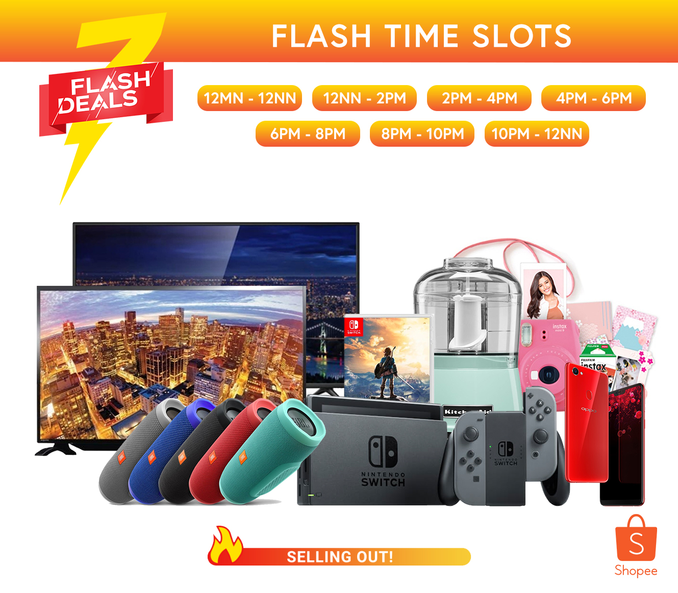 Score the Nintendo Switch, Oppo F7, and HD TVs at Shopee's