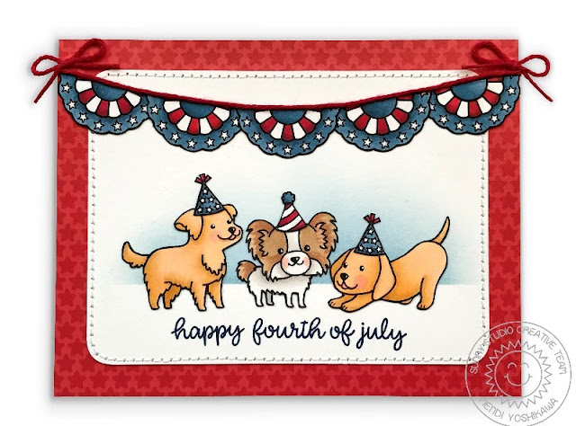 Sunny Studio Stamps: Party Pups & Stars & Stripes Fourth of July Dog Card by Mendi Yoshikawa