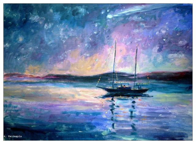 Pintura al óleo de un velero clásico en noche estrellada