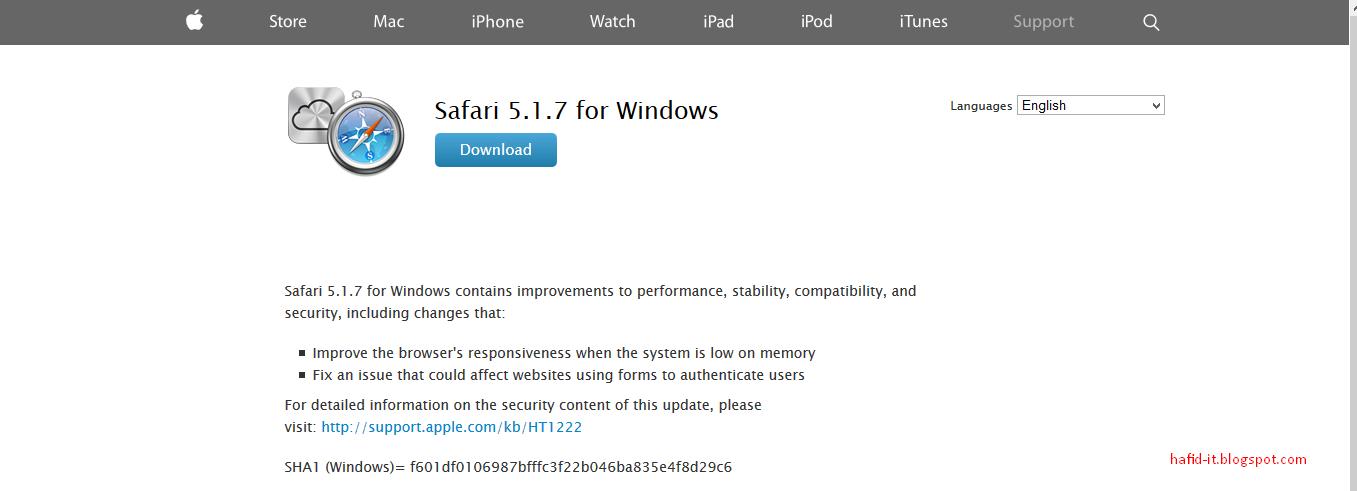 Disertakan dengan OS X dan sistem operasi iOS Safari, Browser Tercepat Versi Mac Dan Support Windows
