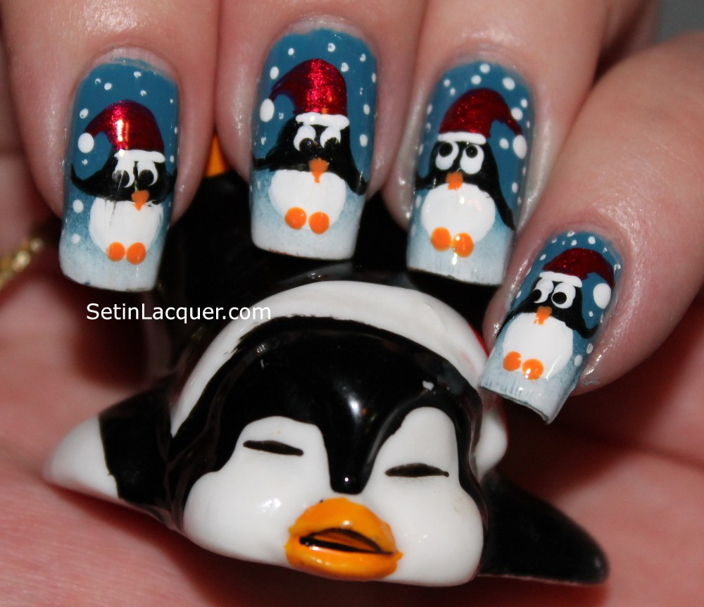 Holiday penguins - fun little characters - Set in Lacquer