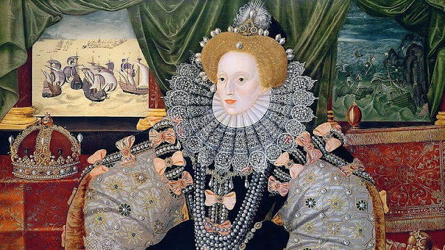 Lukisan Ratu Elizabet 1 Inggris saat mengenakan lipstik