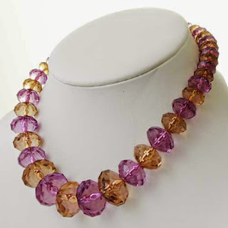 Bold acrylic bead necklace modern in yellow and purple