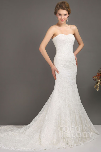http://www.cocomelody.com/sheath-column-ivory-sweep-brush-train-strapless-lace-wedding-dress-cwlt09001.html