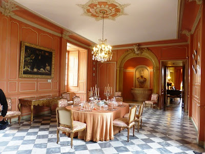 table set out in the dining room at Chateau de Villandry in the Loire Valley