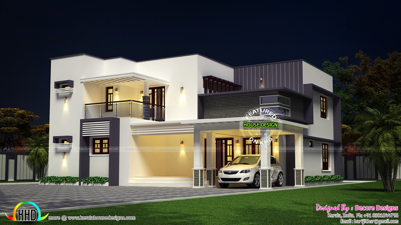 Flat roof modern 2430 sq ft house kerala home design and for Modern kerala style house plans with photos