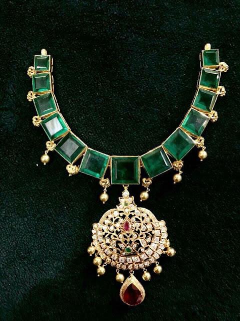 Emerald Diamond Set Large Earrings