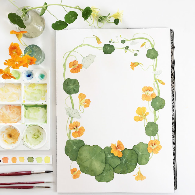 nasturtiums, botanical watercolor, watercolor, painting, Anne Butera, My Giant Strawberry