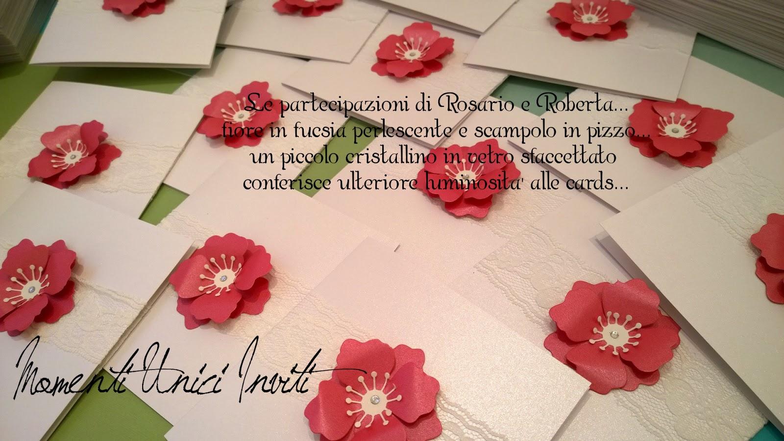 rob Le partecipazioni di Rosario e Roberta... A touch of colorColore Bianco Colore Fucsia Partecipazioni Pizzo