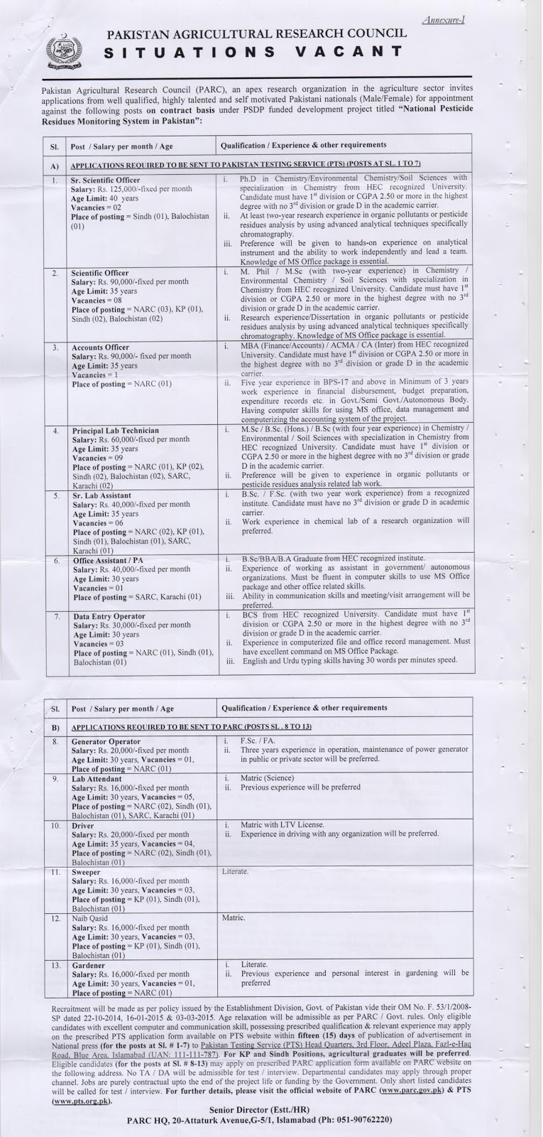 Pakistan Agricultural Research Council Situations Vacant