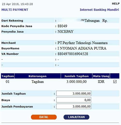 Cara Top Up Saldo Payfazz Via Mandiri Online Emingko Blog