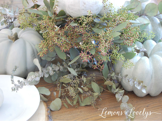 Fall Tablescape Eucalyptus - tap to see more pictures and sources on the blog www.lemonstolovelys.blogspot.com