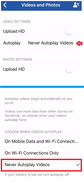 disable video autoplay on Facebook for iPhone