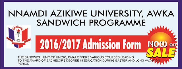 UNIZIK 2016/2017 Sandwich Admission Form Is Now On sale-Purchase Now @sandwich office UNIZIK