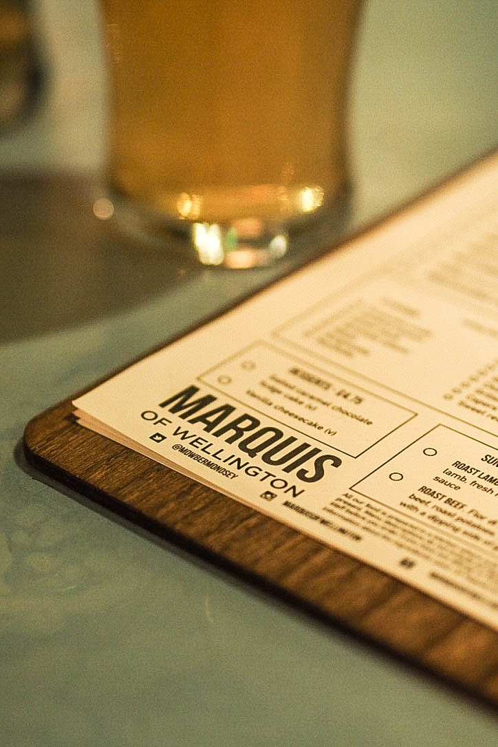 Marquis of Wellington menu