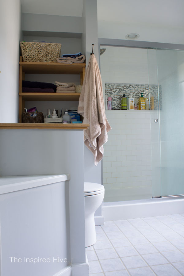 Built in shelving master bathroom