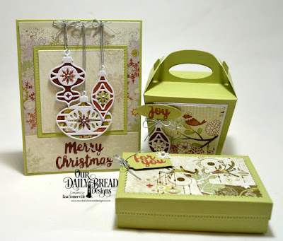 The Giving Gift Box, Retro Ornaments, Tag Trio, Holiday Words, Glorious Gable Box, Lever Card (for layering), Diorama with Layers (square die cut for layering), Paper Collection: Retro Christmas